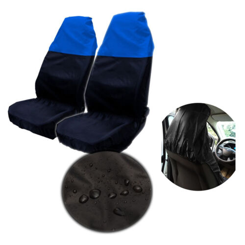 2x Universal Waterproof BLUE BLACK Front Seat 1Pair Covers Protector for Car Van
