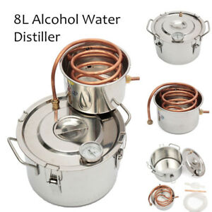 2GAL/8L Copper Moonshine Ethanol Alcohol Water Distiller Still Stainless Boiler