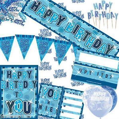 Blue and Silver Glitz Aged Birthday Partyware Decorations Tableware Ages 13-80