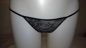 Victoria's Secret LARGE Black Lace String Bikini panties NWT itsy mini stretchy