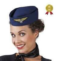 LADIES AIR HOSTESS STEWARDESS HEN NIGHT PILOT FANCY DRESS COSTUME HAT NAVY BLUE