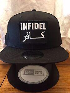 3999074ee7c96 New Era NE400 Black Flat Brim Snapback Hat Cap W  ARABIC INFIDEL ...