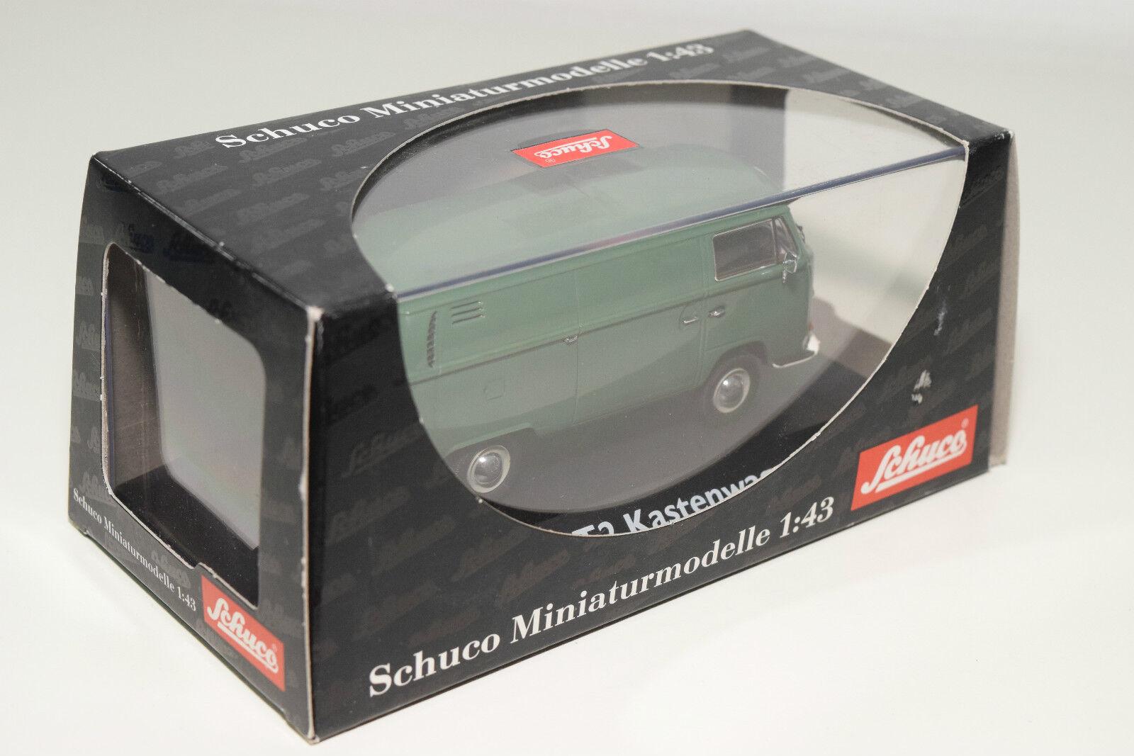 . . . SCHUCO 3211 VW VOLKSWAGEN TRANSPORTER T2 KASTENWAGEN VAN GREEN MINT BOXED a982a9