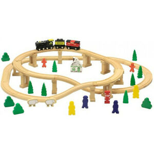 Holzeisenbahnset-Eisenbahn-Set-Starterset-Eisenbahn-passt-zu-Brio-beeboo-Neu-amp-Ovp