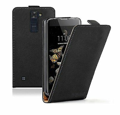 SLIM BLACK Leather Flip Case Cover Pouch For Mobile Phone LG K8