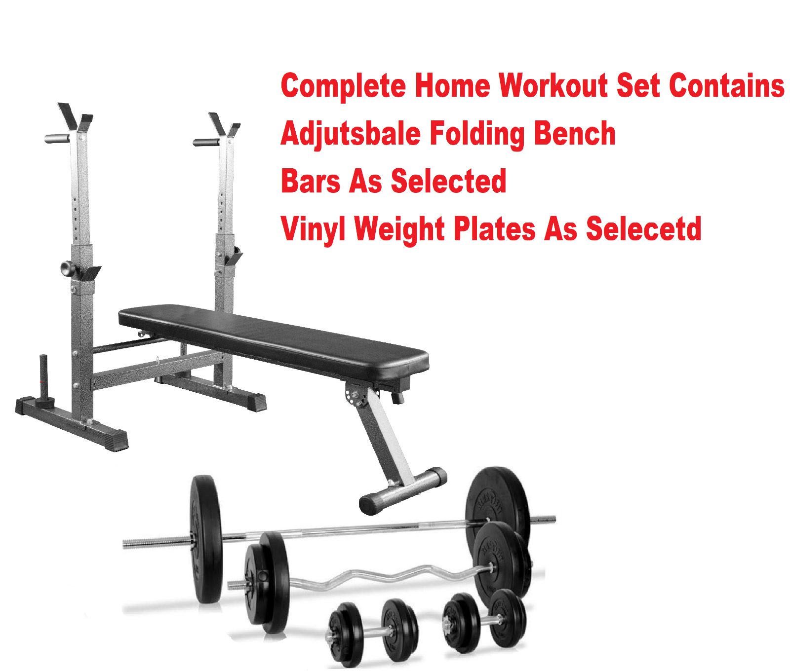 Weight Bench Training Complete Weights Set. Barbell Dumbbells & Weight Plates