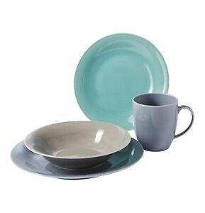 Kombiservice Tafelservice Geschirrset Jive Porzellan 24tlg Grau Grun Blau Ebay