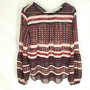ANN-TAYLOR-LOFT-Blouse-Size-Medium-Sheer-Stripe-Black-Red-Womens-Long-Sleeve