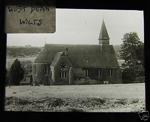 Glass-Magic-lantern-slide-WEST-DEAN-CHURCH-C1900-WILTSHIRE-ENGLAND-L27