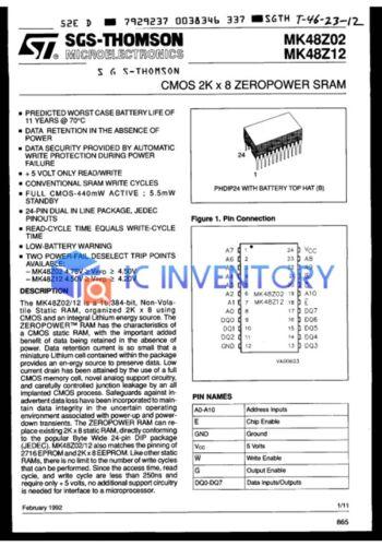 NEW 1PCS MK48Z02B-25 ST Encapsulation:DIP-24,CMOS 2K x 8 XEROPOWER SRAM