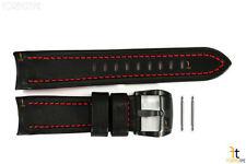 Luminox 5127 SXC GMT 24mm Black Leather Watch Band Red Stitches w/ 2 Pins