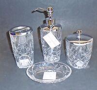 Hotel Balfour 4 Pc Clear 3d Glass Crystal Circular Pattern Soap Dispenser+jar+2
