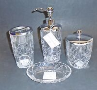 Hotel Balfour 4 Pc Clear 3d Glass Crystal Circular Pattern Soap Dispenser+jar+2
