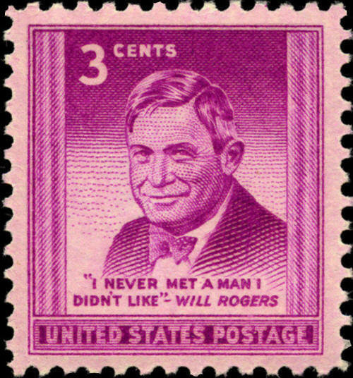 """1948 3c William Penn Adair """"Will"""" Rogers, Comedy Actor"""