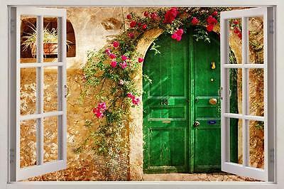 Vintage Greek House 3D Window View Decal WALL STICKER Decor Art Tuscan H112