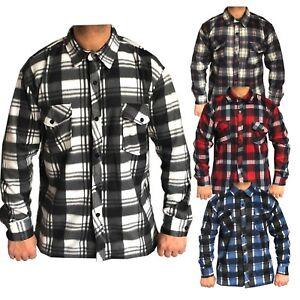 Hombre-Nuevo-cepillado-de-Polar-Termico-Comprobar-Camisa-Lumberjack-Casual-Calido-Trabajo-superior