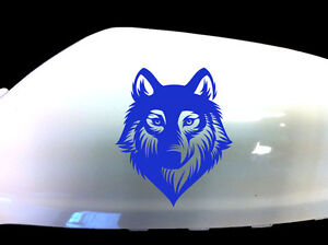 Wolf-Werewolf-Car-Stickers-Wing-Mirror-Styling-Decals-Set-of-2-Blue