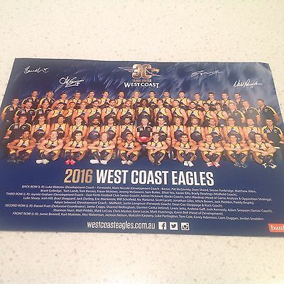 AFL 2016 WEST COAST EAGLES  TEAM POSTER, BARGAIN ATTRACTIVE SIGNEDBY PLAYERS