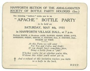HANWORTH-1935-Invitation-to-APACHE-BOTTLE-PARTY-Feltham-Middlesex-Social-History