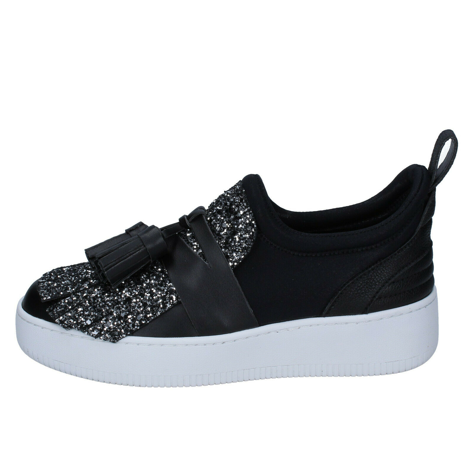 Womens shoes MY GREY MER 5 (EU 38) moccasins moccasins moccasins silver black glitter BS626-38 9774eb