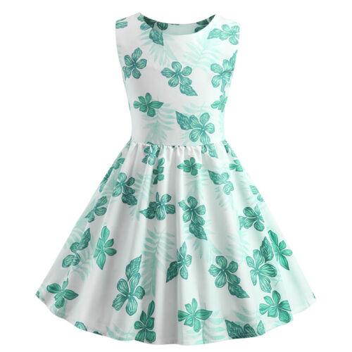 Retro Kids Girls Dress Flower Print Princess Swing Rockabilly Party A-Line Dress