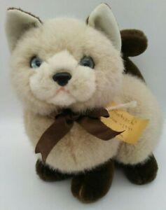 Vintage-UNIPAK-Cat-Plush-Collectible-Stuff-Animal-Siamese-Brown-Tan-w-Blue-Eyes