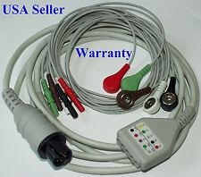 ECG EKG CABLE WITH 5 LEADS Spacelabs Datascope Dinamap GE Physiocontrol