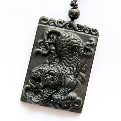 Black Green Jade Lucky Chinese Zodiac Tiger Yuanbao Money Amulet Pendant