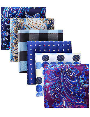 Lot 6 Pcs Assorted Men/'s Silk Pocket Square Handkerchief Set Wedding Gift Box