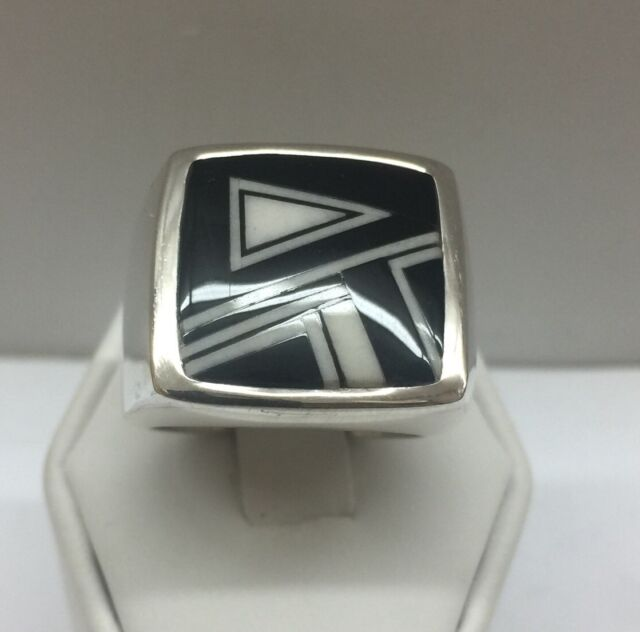 Native American Navajo Sterling Silver Mens Ring Inlay Black Onyx Size 9.25