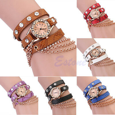 Fashion Women Faux Leather Rhinestone Sling Chain Wrap Quartz Girl Wrist Watch