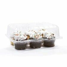 "12 pcs 6 Cupcake High Dome 4""  Muffin Holder Box Container Carrier Plastic Clear"