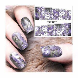 Nail Art Water Decals Stickers Transfers Purple White Flowers Gel Polish 8077 Ebay