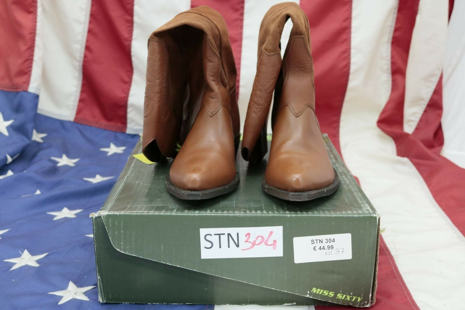 Boots New Miss Sixty ( Cod. Stn304) N.37 Ladies Dark Brown Leather Cowboy
