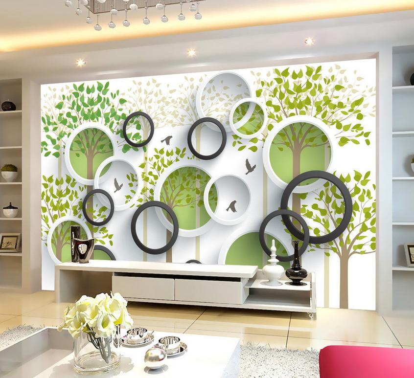 3D Vogel Baum Ring 7574 Tapete Wandgemälde Tapete Tapeten Bild Familie DE Summer | Verschiedene Waren  | Gute Qualität  | Sonderpreis