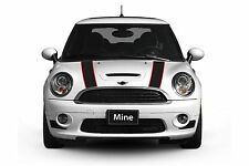 Mini Cooper 2007-2013 Black and Red Hood Stripe Decals - Exact Fit No trimming