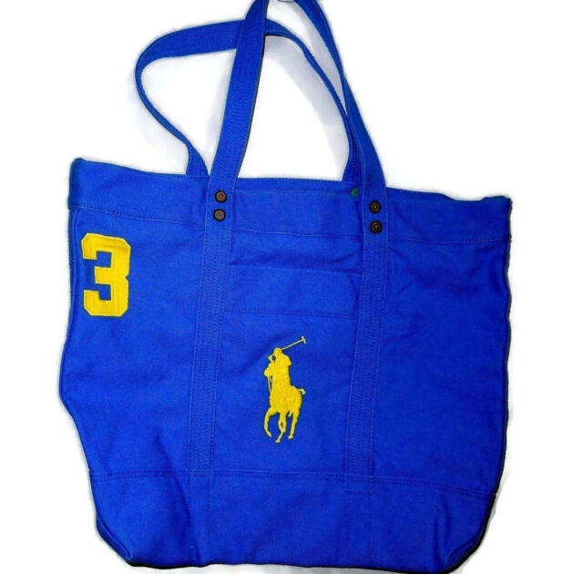 60cdad5664bc Polo Ralph Lauren Blue Canvas Tote Bag With Large Pony for sale ...