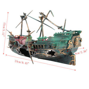 Aquarium-Large-Broken-Boat-Shape-Fish-Tank-Separated-Sunk-Shipwreck-Wreck-Decor