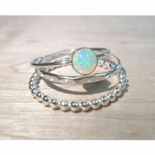 3X Sparkling 925 Silver Fire Opal Gemstone Ring Set Wedding Gifts Jewelry 4size