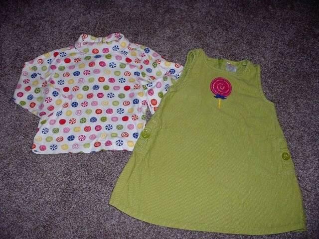 Gymboree Baby Girl Candy Shoppe Green Jumper & Turtleneck Set Lot Size 18-24 mos