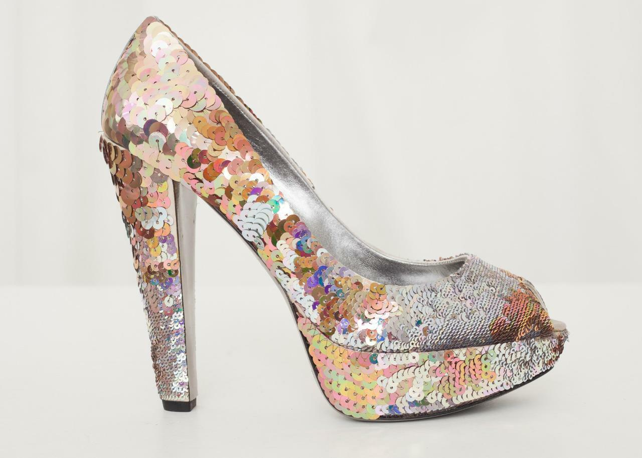 MIU MIU Damens Multicolor Sexy SEQUIN High Platform Peep-Toe High SEQUIN Heel Pump 38.5 /8.5 a0eeeb