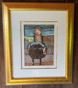 Graciela-Rodo-Boulanger-Lithograph-034-Bull-Ride-034-Professionally-framed