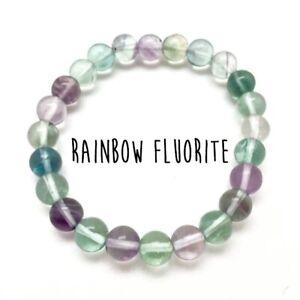 FLUORITE-Bracelet-Natural-Stone-8mm-AAA-Grade-Healing-Crystal-Bracelet-Reiki