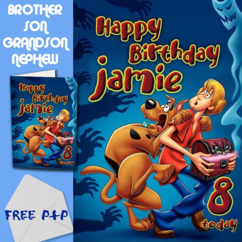 Scooby DOO-personnalisé Carte Anniversaire Frère Fils Neveu petit-fils
