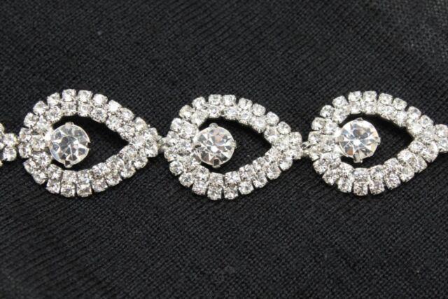 wedding bridal gown teardrop rhinestone crystal silver chain decorationt rim 1yd