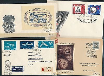 196x 4 Diff Weltraum Space Raketen Years 195x Cds / Covers / Fdc 01813