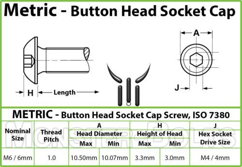 BUTTON HEAD Socket Cap Screws 6mm x 1.00 x 55mm Qty 20 12.9 Alloy Steel M6