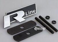 Metal Car Racing Sports Hood Front Grilles Badge Emblem For Black R Rline R-line
