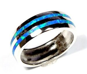Blue Fire Opal Inlay on 925 Sterling Silver Eternity Band Ring Men