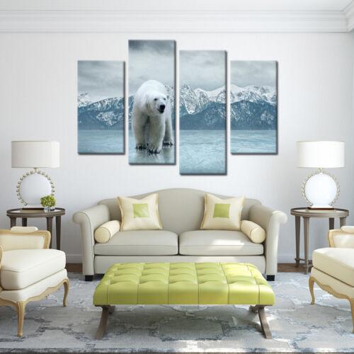Canvas Art Wall Home Decor Polar Bear Picture Painting Canvas Print Art-4pcs